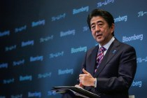 Shinzo Abe, Japan's prime minister, speaks during the Japan Finance Forum event in New York, U.S., on Tuesday, Sept. 29, 2015. Abe pledged to push for further improvements in corporate governance, including urging companies to make more progress in unwinding cross-held shares. Photographer: Chris Goodney/Bloomberg via Getty Images