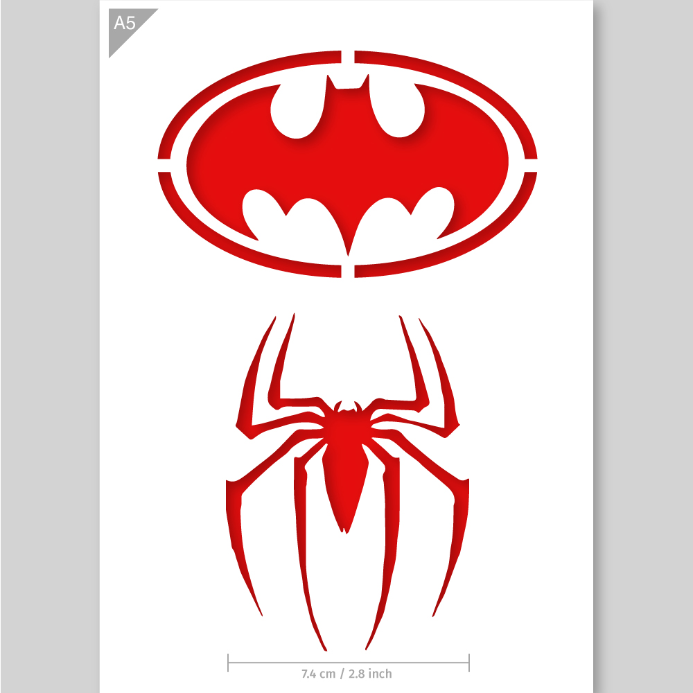 Sjabloon Letters Groot A5 Batman En Spiderman Logo Sjabloon