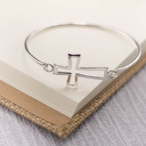 Silver Gothic Cross Bangle