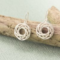 Silver Wicker Twist Drop Earrings