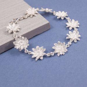 Silver Sunflower Bracelet