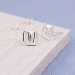 Satin Wave Stud Earrings