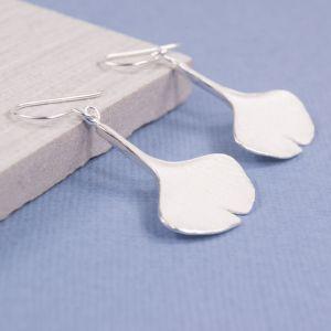 Satin Ginko Leaf Earrings