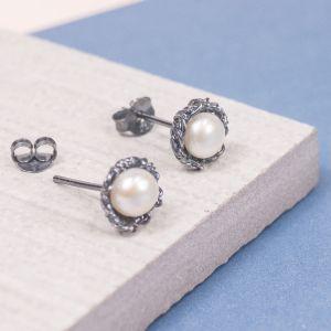Silver Pearl Studs