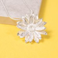 Large Silver Sunflower Pendant