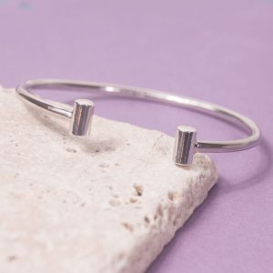 Silver Bar End Torque Bangle