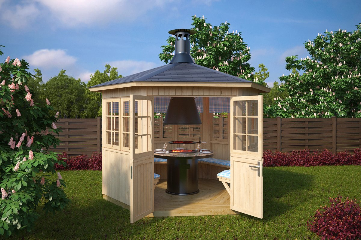 House 24 Garden Bbq Hut Festival 6m² 21mm 3 X 2 6 M Summer