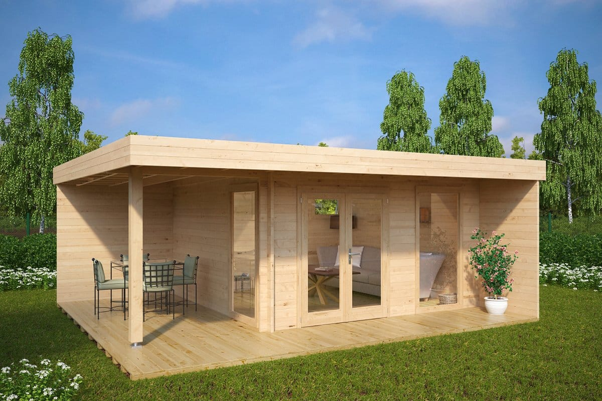 Moderne Gartensauna Modern Summer House Hansa Lounge Xl With Veranda 14 5m²