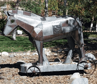 Moak's Trojan Horse as it resides on Rocky's campus. photo by Kobi Hudson
