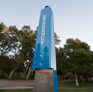 Two emergency blue lights now reside on Rocky's campus. photo by Brandon Keim