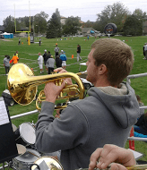 Rocky senior Koree MacMurdie plays his horn during one of Rocky's home football games. photo by Teresa Sarkela