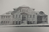 Tech Hall in its former days, as portrayed in this sketch by Zach Garretson that highlights the sandstone features of the building. photo courtesy of Terry Steiner