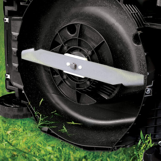 Mulching blades can be used to cut the grass for bagging or discharging over the lawn