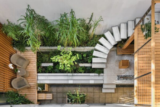 Lush green plants can bring texture and color to your patio space