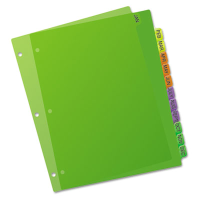 Avery® Durable Plastic Preprinted Tab Dividers with Multicolor Tabs - folder dividers tabs