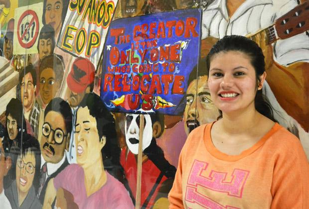 Ana Miriam, 22, senior psychology and deaf studies major, is an active member of Dreams To Be Heard a group that advocates for immigrations reform. She said the new bill does not give undocumented immigrants the rights that they deserve. Photo credit: John Saringo-Rodriguez / Photo Editor