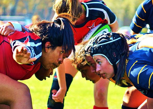 Ashley Gomez, a sophmore urban studies major, waits for the referee to annouce the cadence for the scrum. Photo credit: Laura Pierson / Contributor