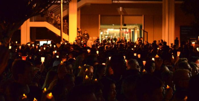 Dozens of people show up for the candlelight vigil for Nohemi Gonzalez.