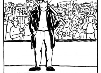Drawing of a crowd carrying picket signs