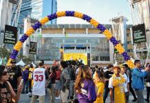 Lakers fans stand outside