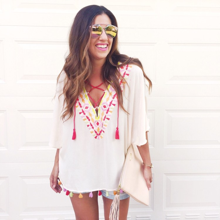 tassel embroidered top