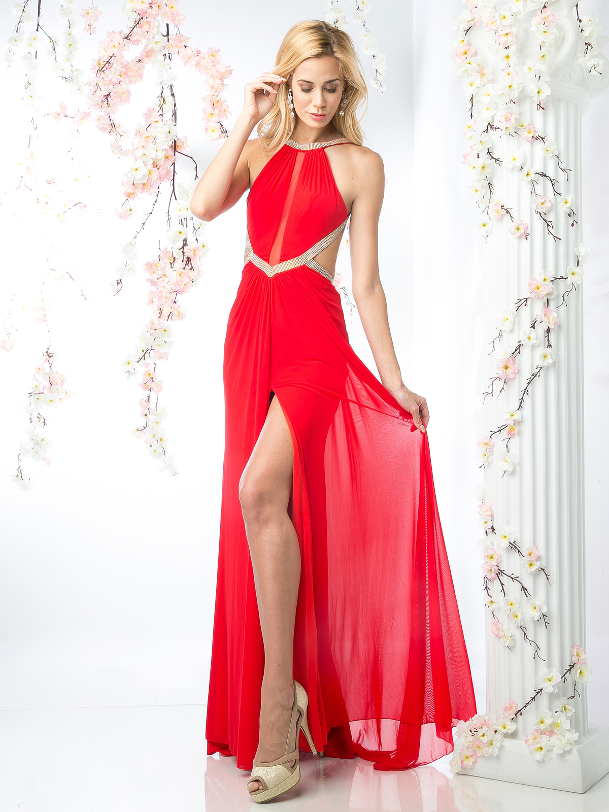 Cd Halter Halter Top Evening Dress With Side Cutouts Sung Boutique