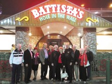 "The Mosconi Cup attendees in front of Battista's are Red ""The Preacher"" Boyles, Jerry ""The Hammer"" Bojarun and spouse, Jerry ""Slick"" Vickery and spouse, Rod ""The Babe"" Thompson and spouse, David ""The Godfather"" Mork, ""Fast Eddie"" Allen and his friend and Sonny ""The Shine"" Williams."
