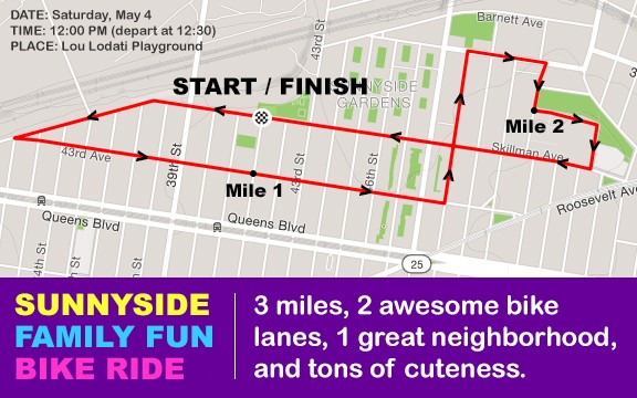 MAY 4 Sunnyside Family Fun Bike Ride Map