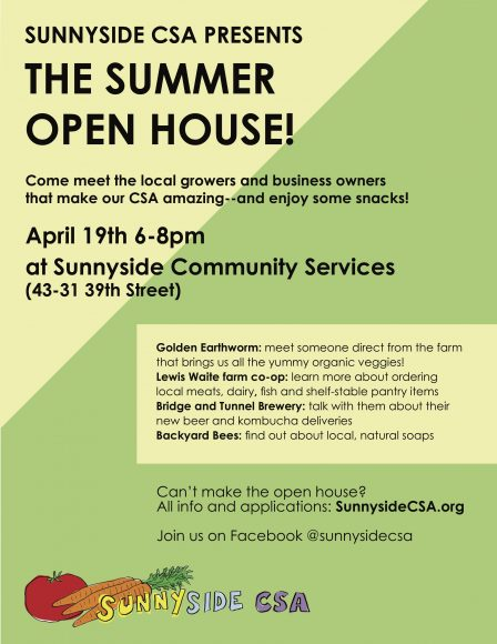 Open house this Thursday, 6-8PM Sunnyside CSA