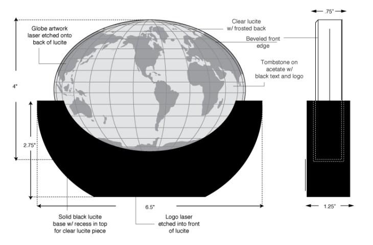 Oval Lucite World design