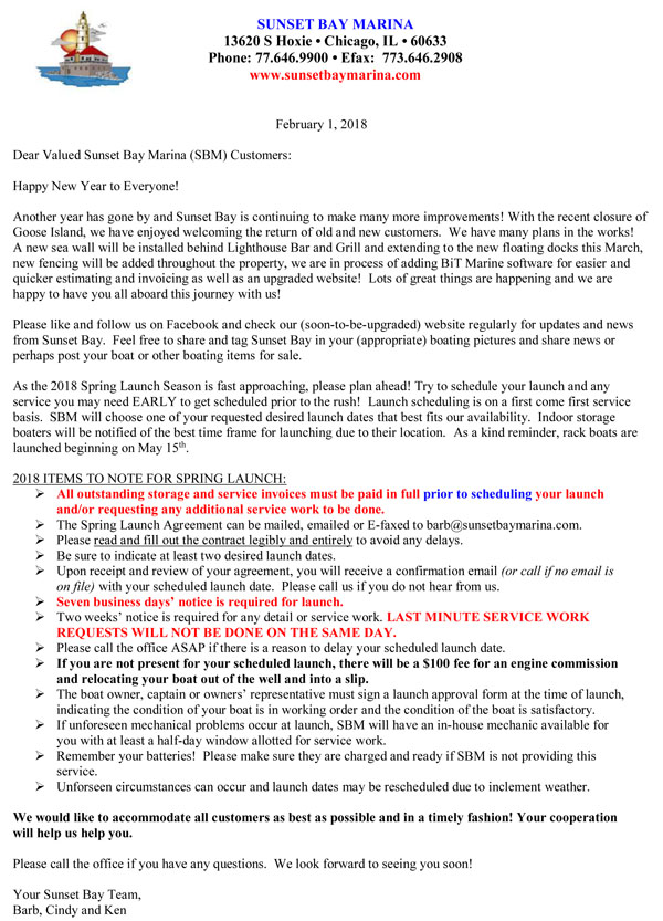 Sunset Bay Marina Cover Letter - Chicago Marina Welcome Letter - what is cover letter