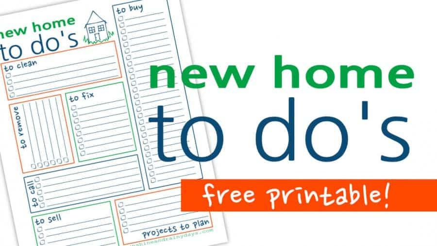 New Home To Do List - Free Printable - Sunshine and Rainy Days