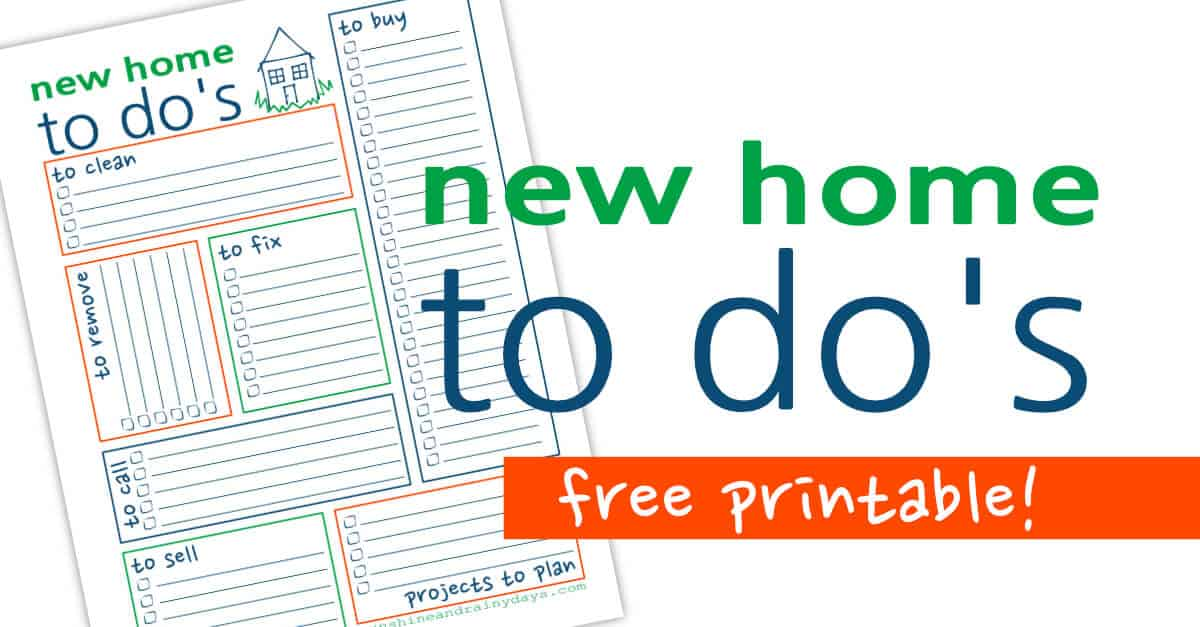 New Home To Do List - Free Printable - Sunshine and Rainy Days