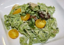Fresh Arugula Pasta with Creamy Garlic-Mushroom Sauce