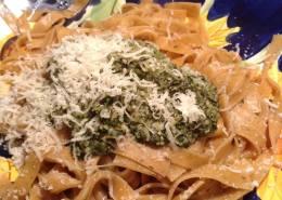 Pasta Mama's Lemon Thyme Pesto on Tomatoe Basil Fettucine