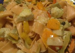 Pasta mama's Red Bell Pepper Pappardelle with Peppers, Lemon, Olives and Artichoke.