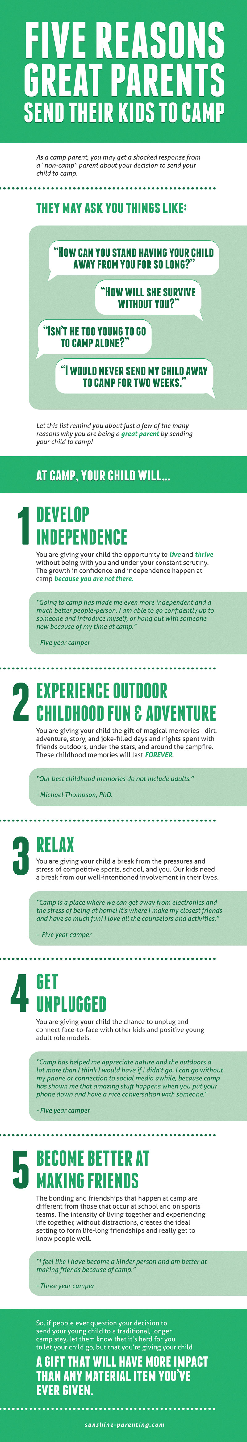 5 Reasons Great Parents Send their Kids to Camp