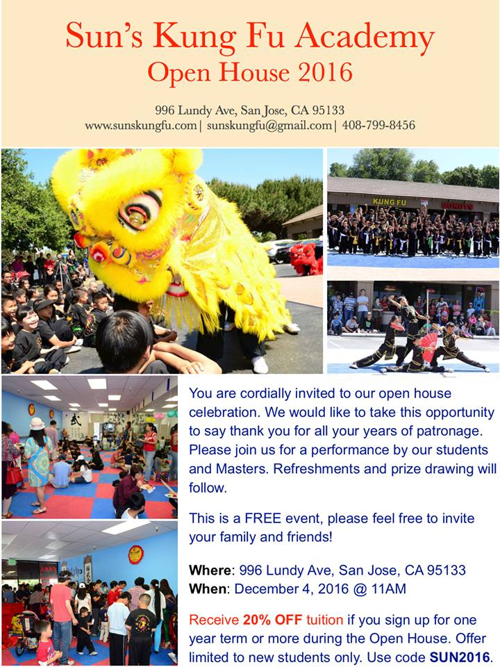Open House December 4th, 2016 Sun\u0027s Kung Fu Academy San Jose\u0027s - House Advertisements
