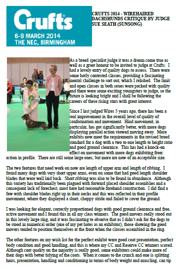 Online Calendar Uk Kennel Fossedata Show A Success Sue Seath's Wirehaired Dachshund Critique From Crufts 2014
