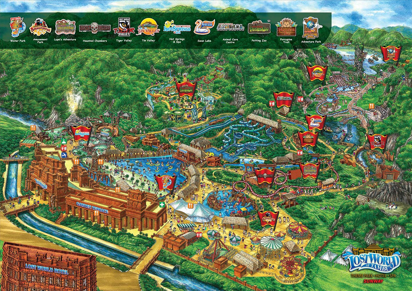 Парк мира Park Map Lost World Of Tambun Theme Park