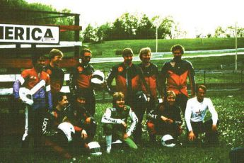 A group of students at Road America in 1983 with Kawasaki team rider, Wes Cooley, one of Keith's students.