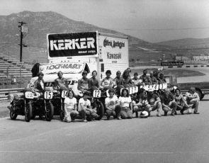 Riverside Raceway 1981. Wayne Rainey, Eddie Lawson, Jimmy Felice, Bubba Shobert, Ronnie Jones, Steve Storz, Don Shoemaker and school crew on the front straight.