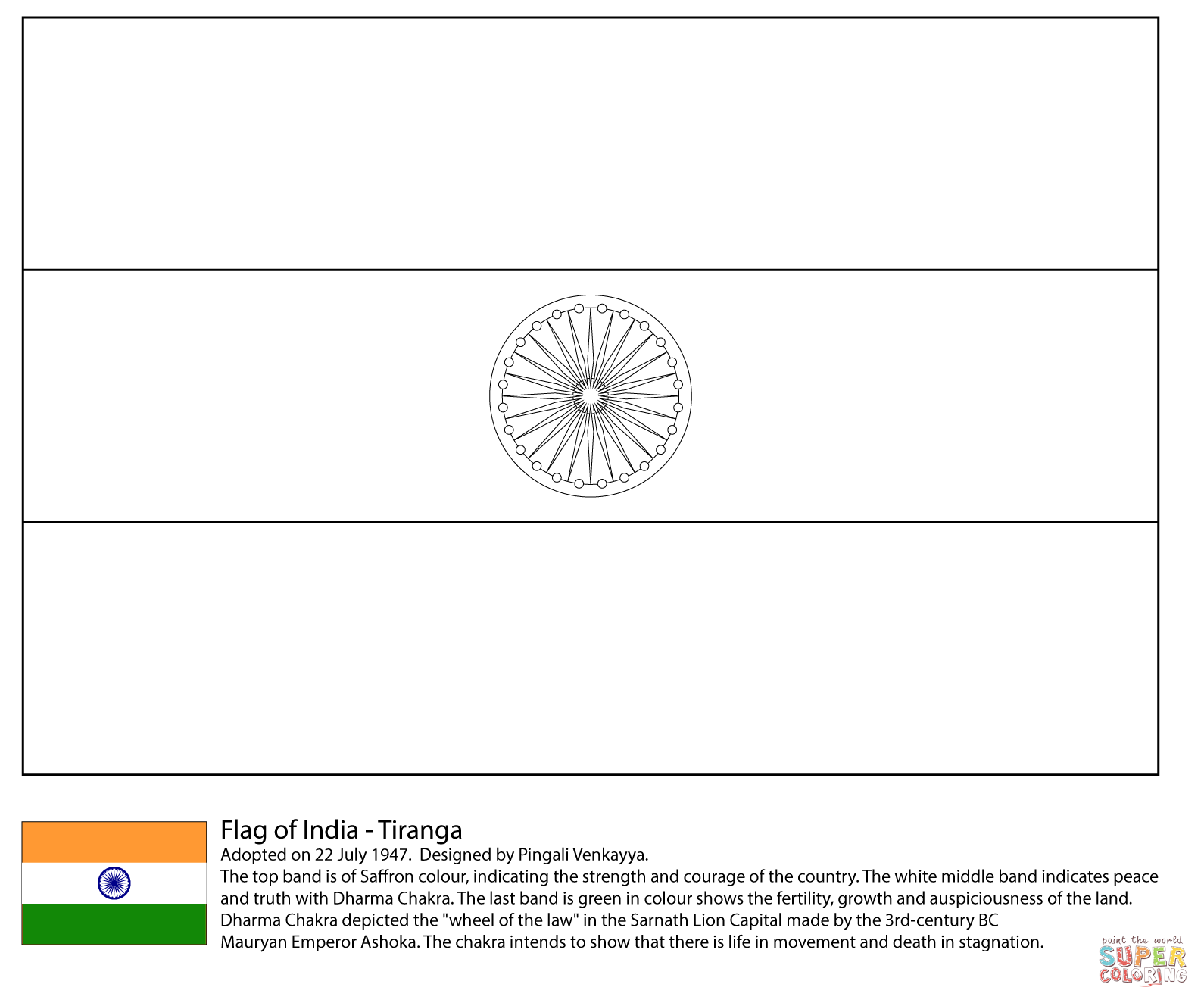 Drapeau India Flag Of India Coloring Page Free Printable Coloring Pages