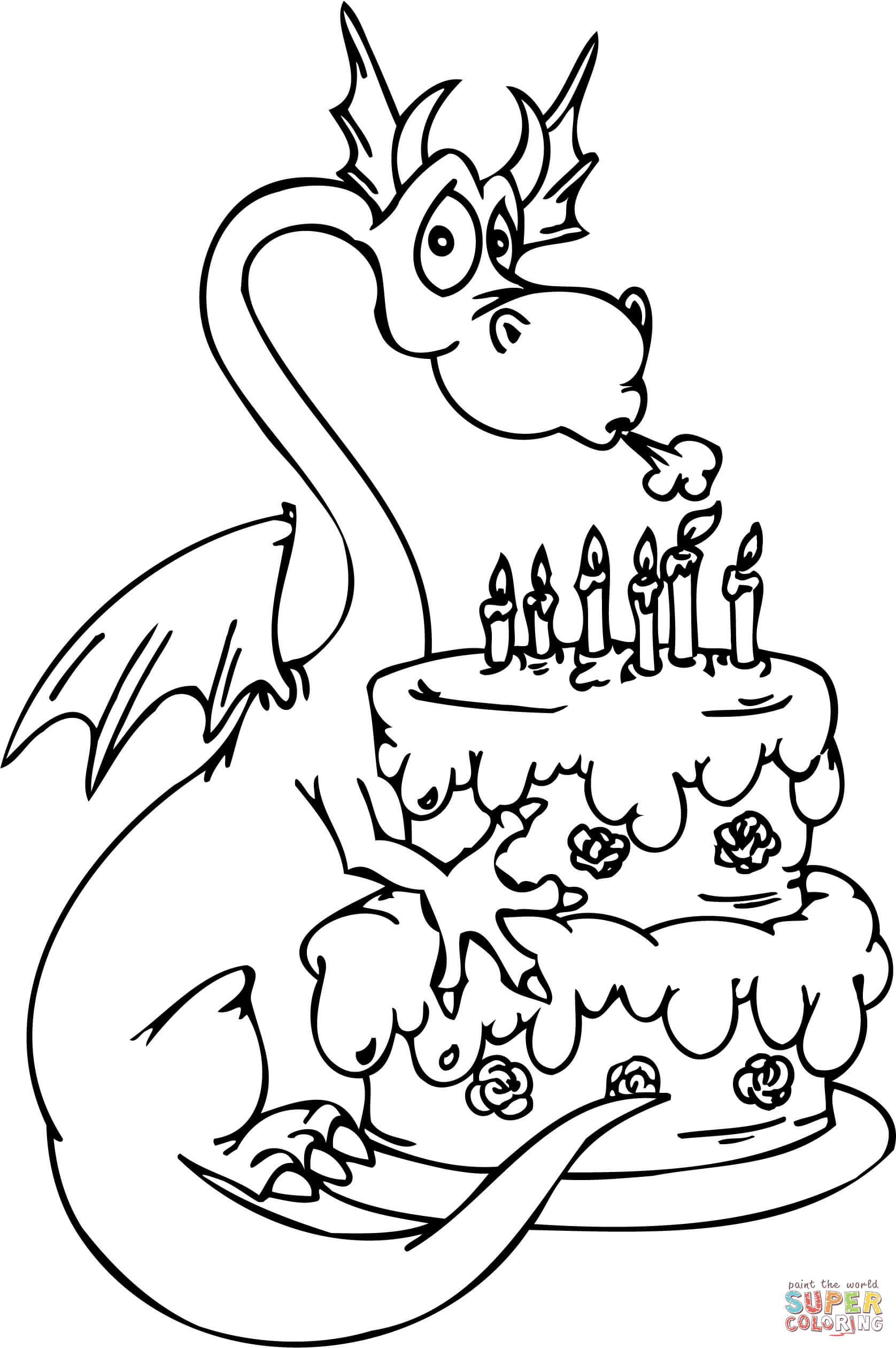 Drawing Cake Colour Dragon With Happy Birthday Cake Coloring Page Free