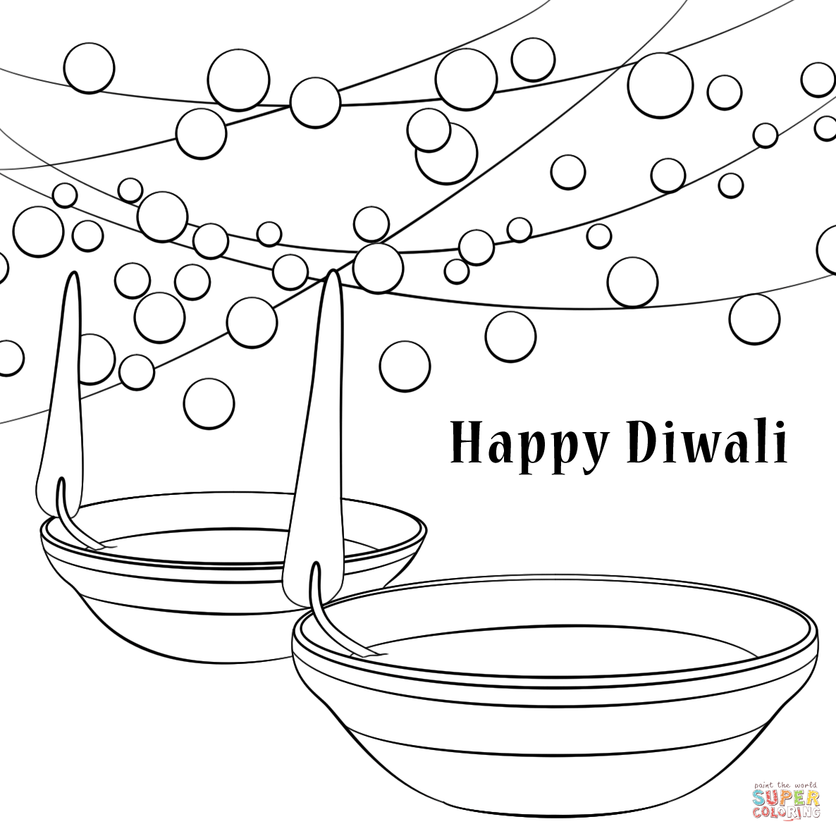 Diwali Black And White Pictures Happy Diwali Coloring Page Free Printable Coloring Pages
