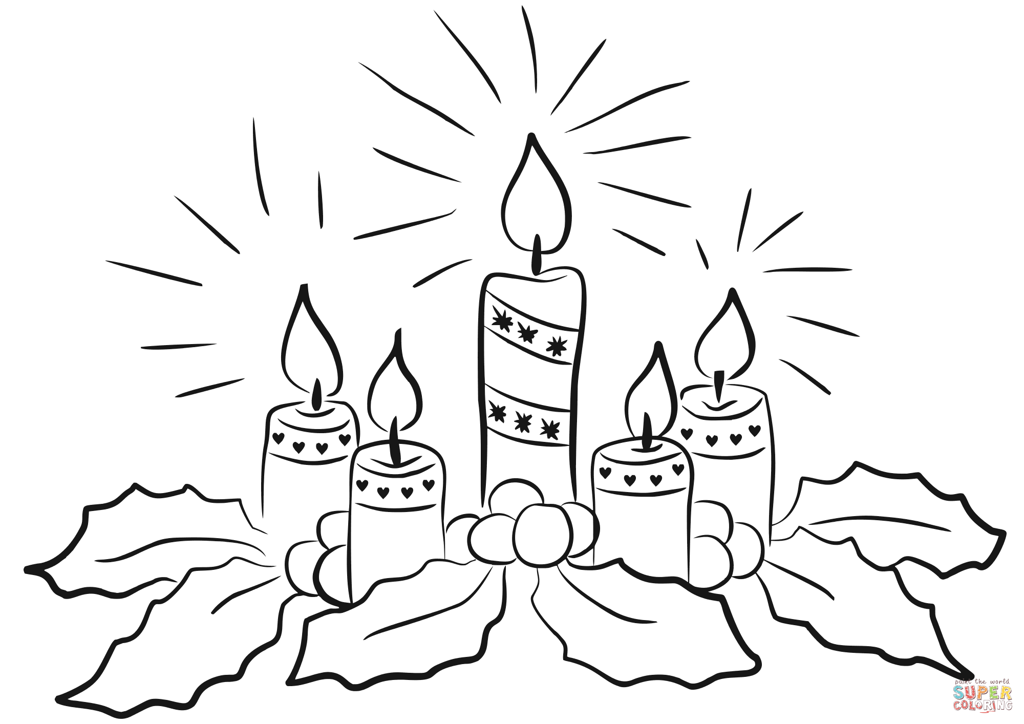 Christmas Candle Black And White Advent Candles Coloring Page Free Printable Coloring Pages