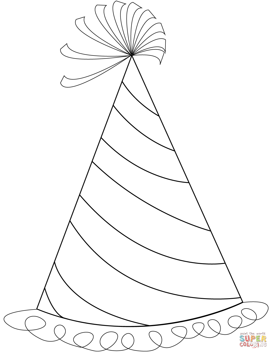 Party Hat Clipart Black And White Happy Birthday Party Hat Coloring Page Free Printable Coloring Pages