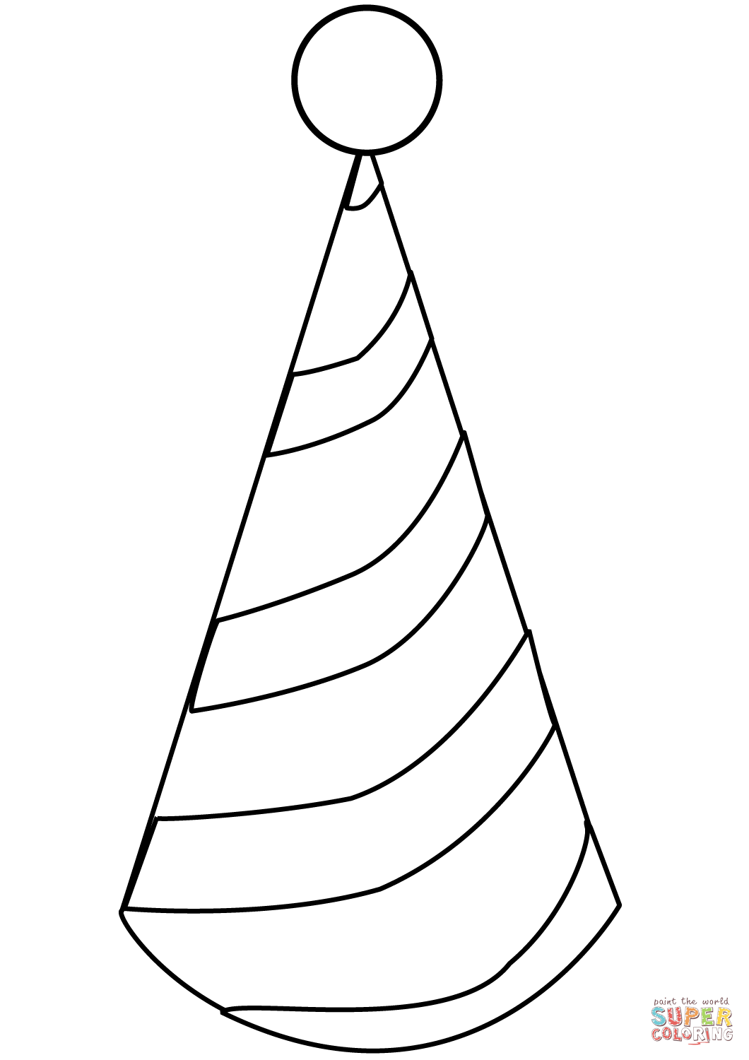 Party Hat Clipart Black And White Party Hat Coloring Page Free Printable Coloring Pages