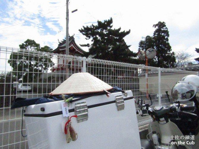 井戸寺駐車場から見える八幡神社