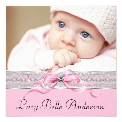Pearls pink baby girl photo birth announcement - Superdazzle - Baby Girl Birth Announcements